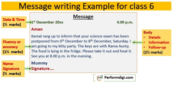 Message writing, Example for class 6