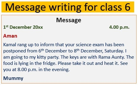 Message writing, questions, sample, exercise for class 6