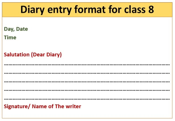Diary entry for class 8 format
