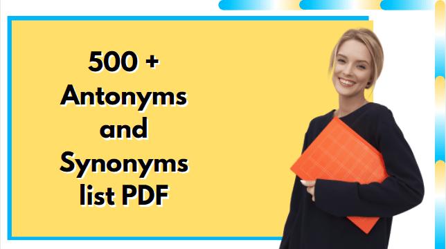 Antonyms and synonyms list pdf